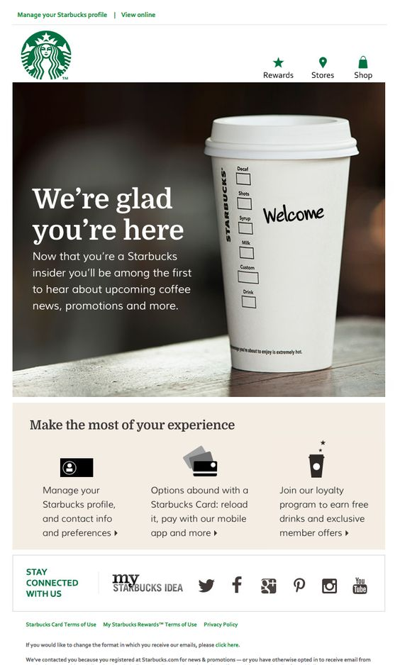 Ejemplo de bienvenida de Starbucks